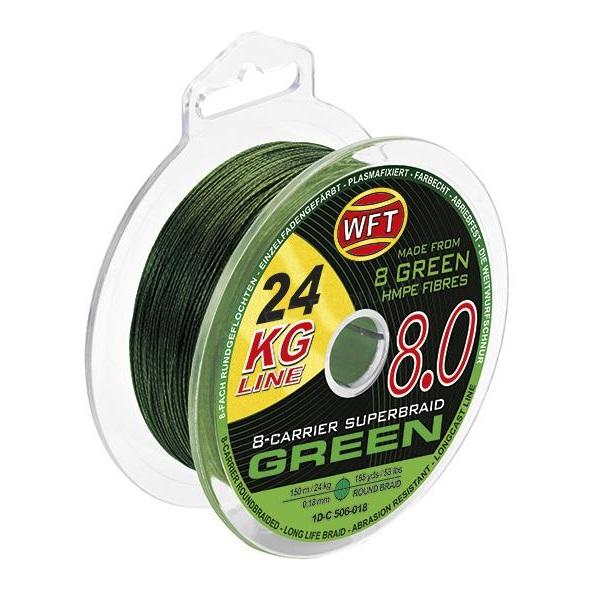 Wft splietaná šnúra kg 8.0 zelená - 600 m - 0,22 mm - 29 kg