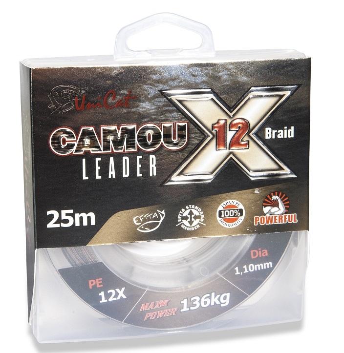 Uni cat náväzcová šnúra camou x-12 leader 25 m - 1,2 mm 154 kg