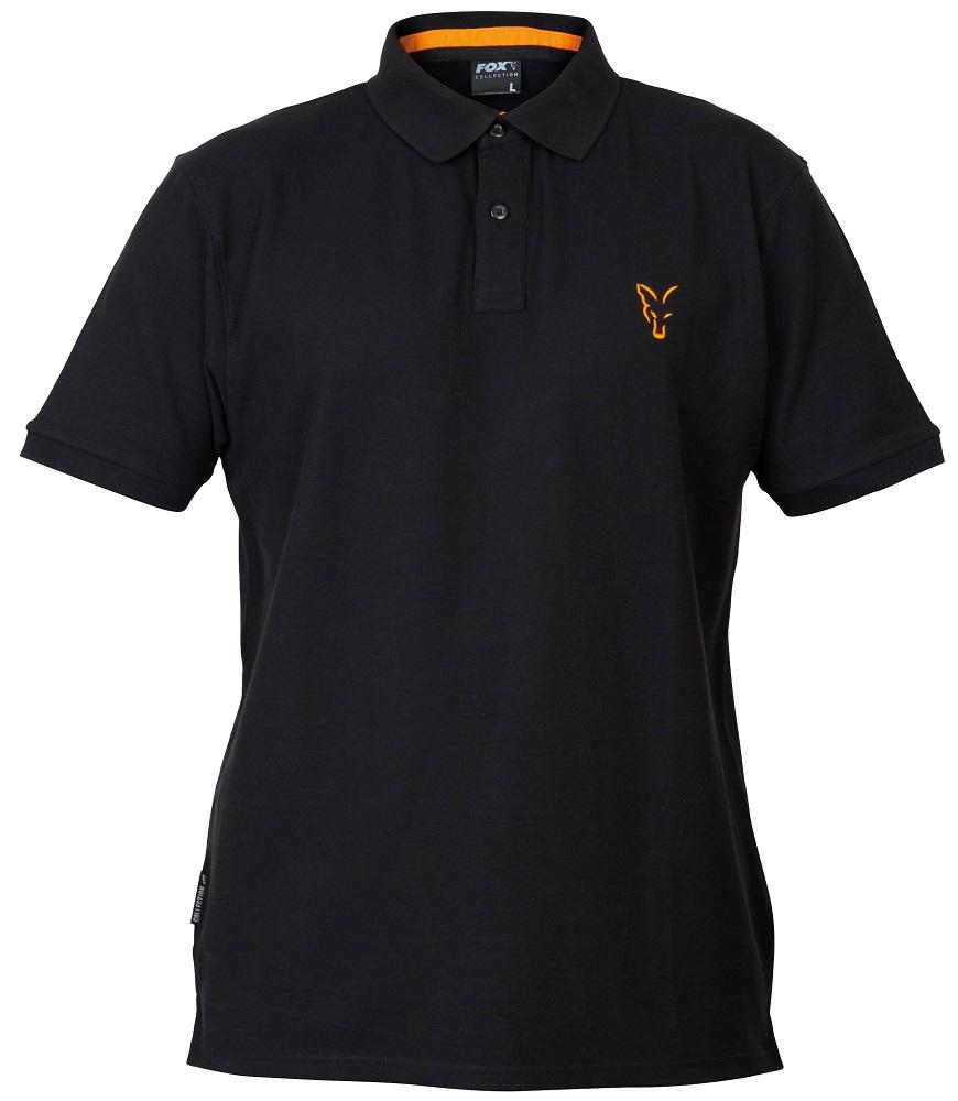 Fox tričko collection black orange polo shirt-veľkosť m