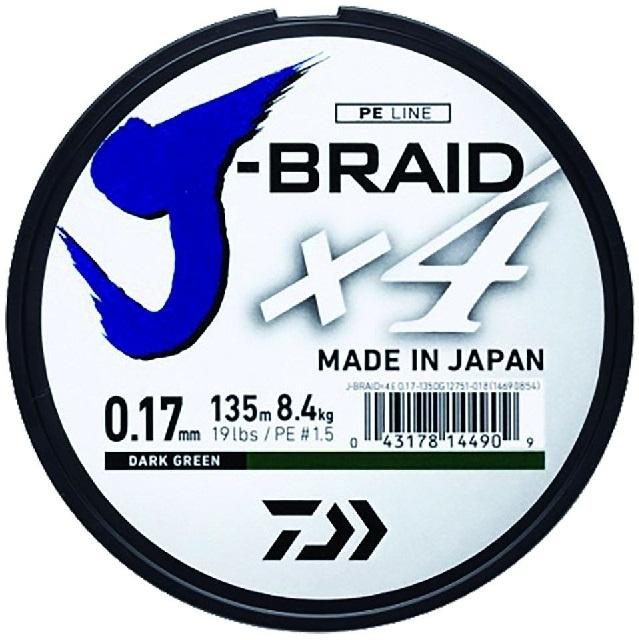 Daiwa splietaná šnúra j-braid 4 tmavo zelená 135m-priemer 0.15 mm / nosnosť 6,9 kg