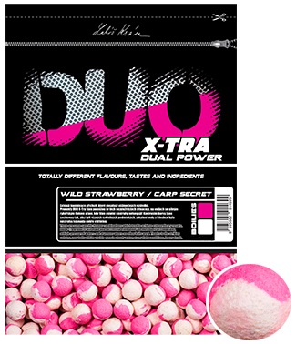 Lk baits boilie duo x-tra wild strawberry/carp secret - 1 kg 30 mm