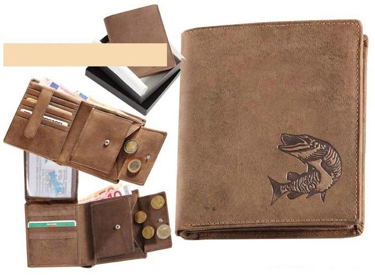 Kožená rybárská peňaženka 17 - šťuka