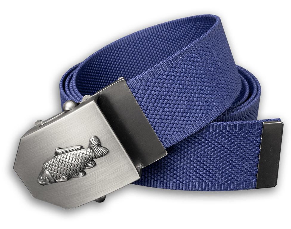 Textilný opasok s kovovou prackou kapor - modrý