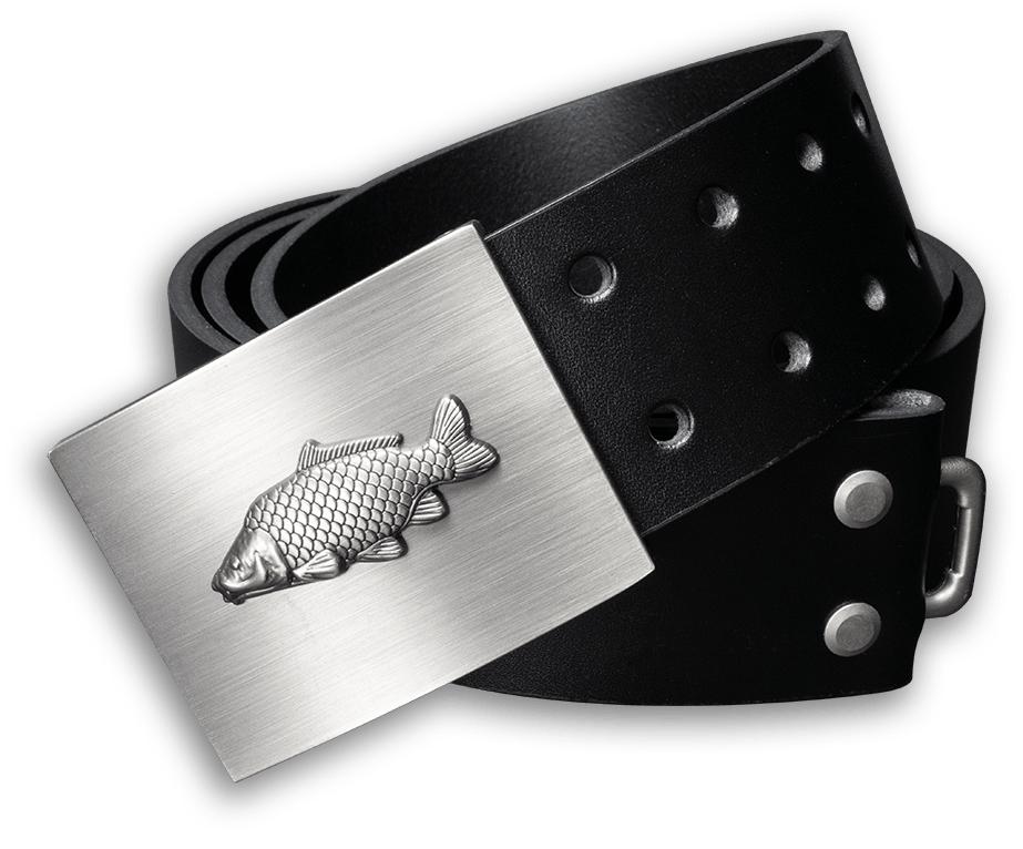Kožený opasok 45 mm s kovovou prackou kapor - čierny - dĺžka 105 cm (99 cm - 111 cm)