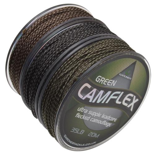 Gardner olovená šnúrka camflex leadcore 20m 45lb-farba camo green