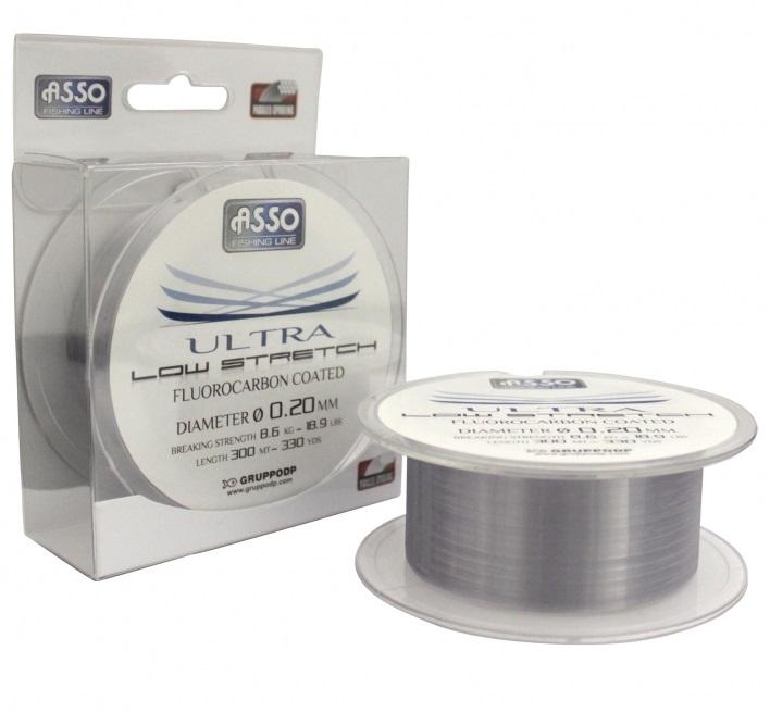 Asso vlasec ultra low stretch 300 m čirá-priemer 0,16 mm / nosnosť 4,6 kg