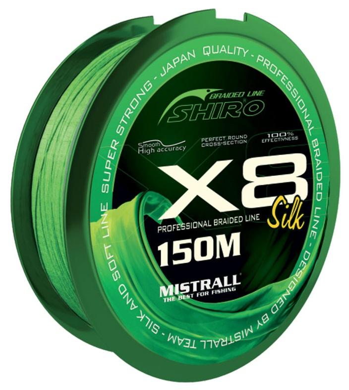 Mistrall pletená šnúra shiro silk x8 zelená 150 m - 0,08 mm 4,9 kg