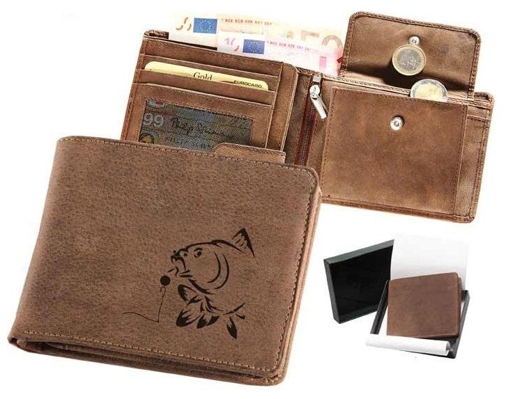 Kožená rybárská peňaženka 40 - kapor a boilies