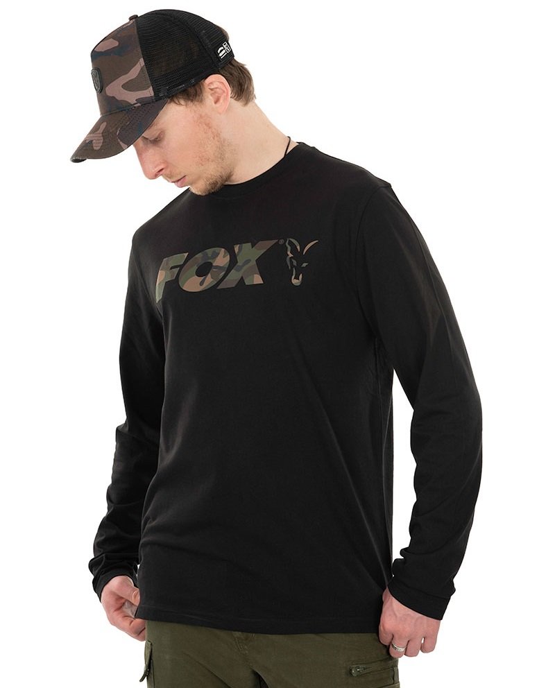 Fox tričko long sleeve black camo t shirt - m