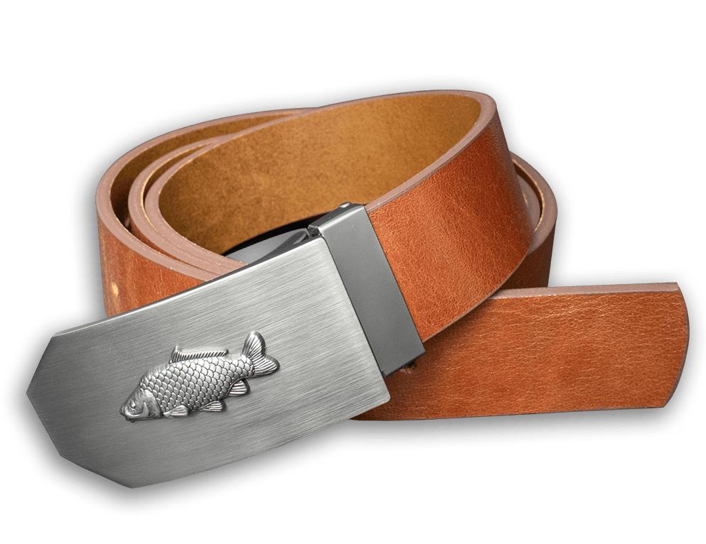 Kožený opasok 40 mm s kovovou prackou kapor - hnedý - dĺžka 110 cm (102,5 cm - 117,5 cm)