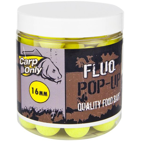 Carp only fluo pop up boilie 100 g 20 mm-white