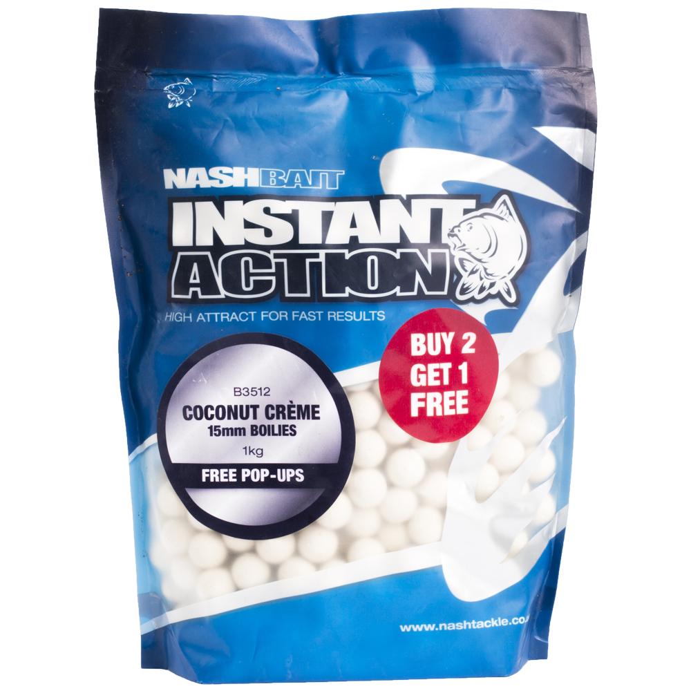 Nash boilies instant action coconut creme-1 kg 12 mm