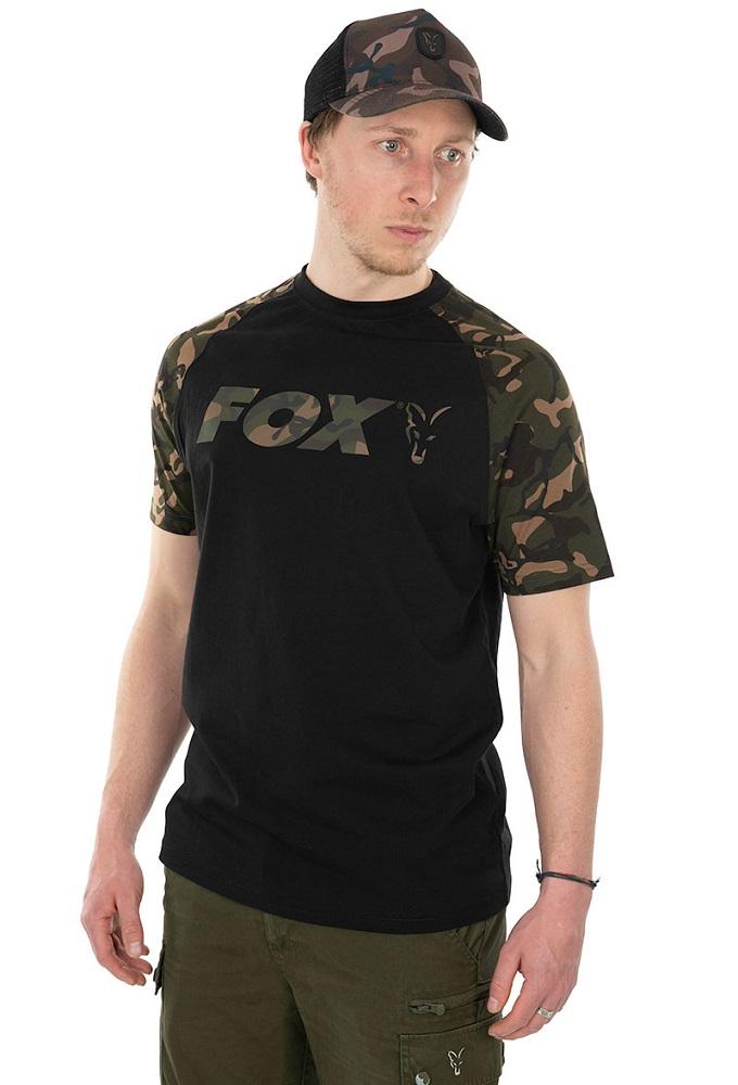 Fox tričko raglan t shirt black camo - s