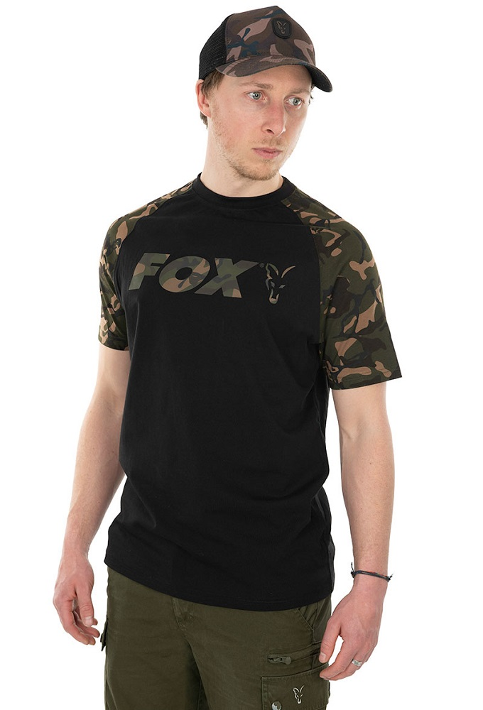 Fox tričko raglan t shirt black camo - xl