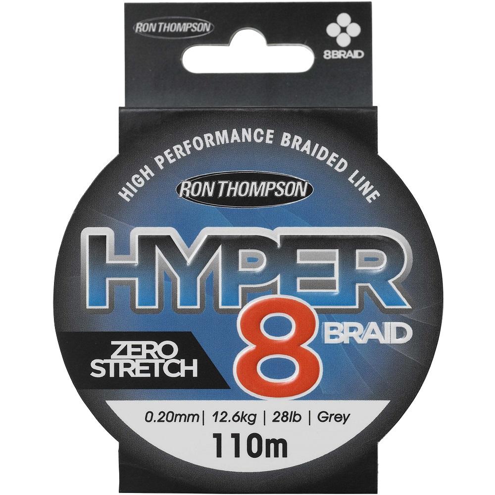 Ron thompson splietaná šnúra hyper 8 braid dark grey 110 m-priemer 0,15 mm / nosnosť 9 kg