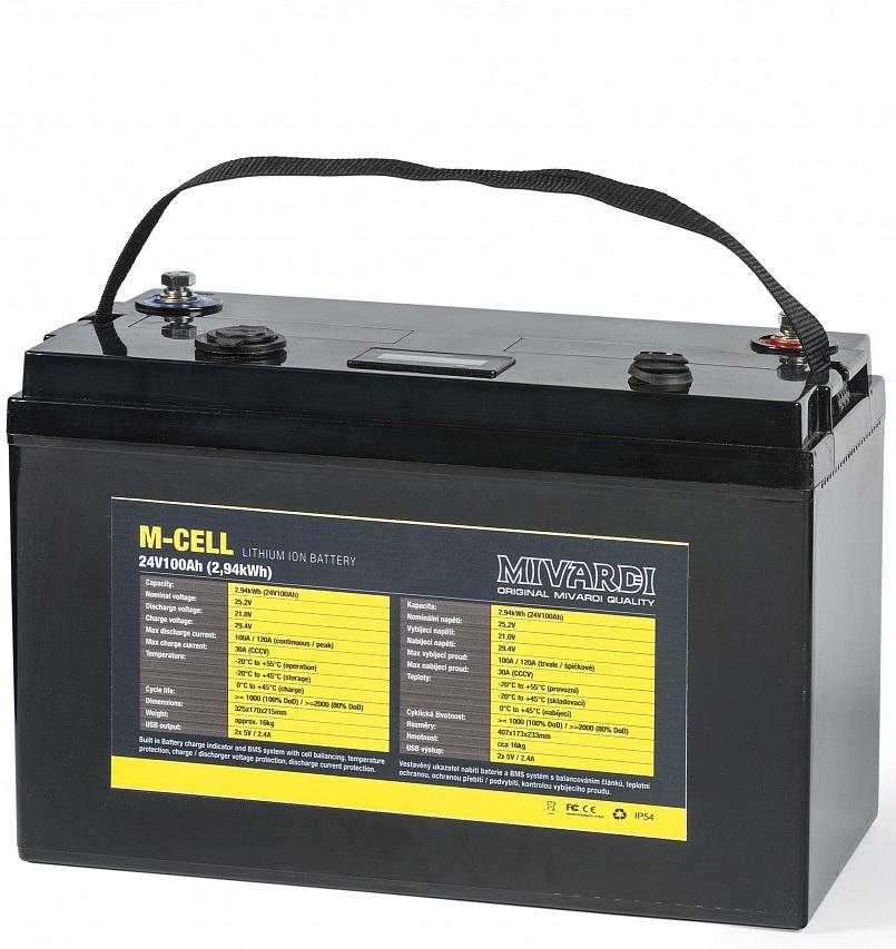 Mivardi lithiová bateria m-cell 24 v 100 ah + 20 a nabíječka