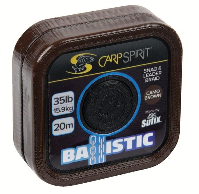 Carp spirit náväzcová šnúra ballistic camo brown 20 m-nosnosť 45 lb