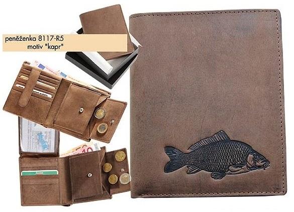 Kožená rybárská peňaženka 17 - kapor