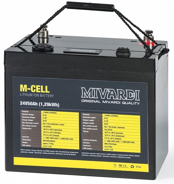 Mivardi lithiová bateria m-cell 24 v 50 ah + 10 a nabíjačka