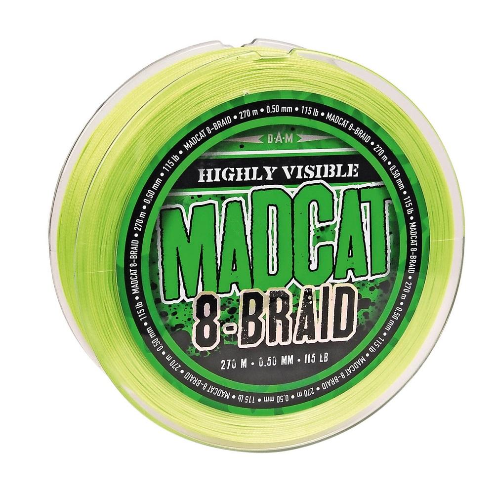 Madcat splietaná šnúra 8- braid-priemer 0,60 mm / nosnosť 61,2 kg / návin 270 m / farba zelená