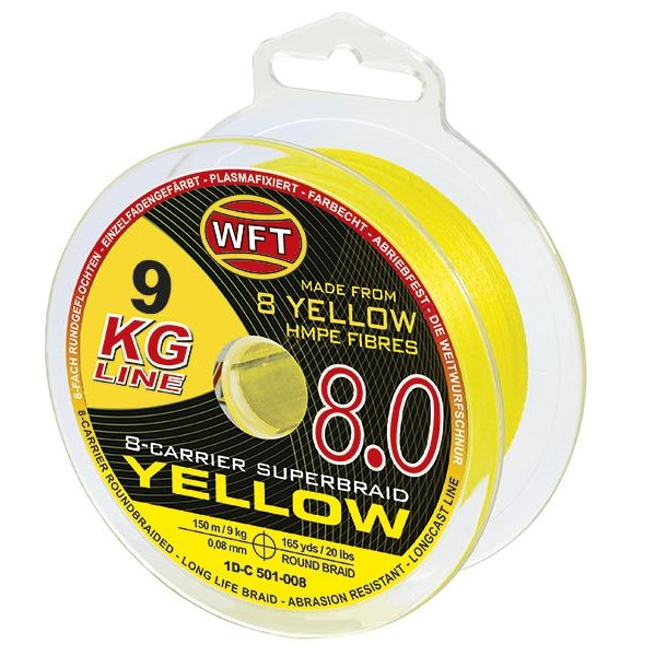 Wft splietaná šnúra kg 8.0 žltá - 600 m - 0,16 mm - 22 kg