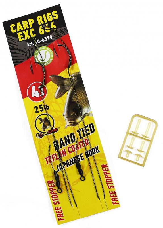 Extra carp náväzce rig ex 666 barbless 25 lb 2 ks-veľkosť háčika 4