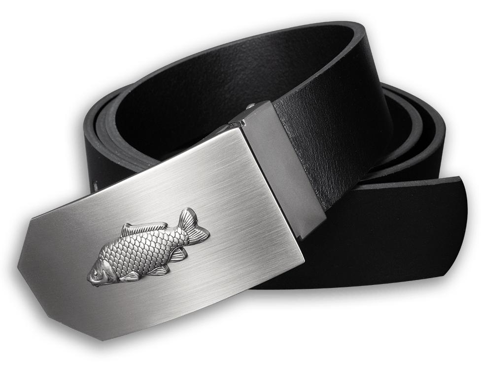 Kožený opasok 40 mm s kovovou prackou kapor - čierny - dĺžka 120 cm (112,5 cm - 127,5 cm)