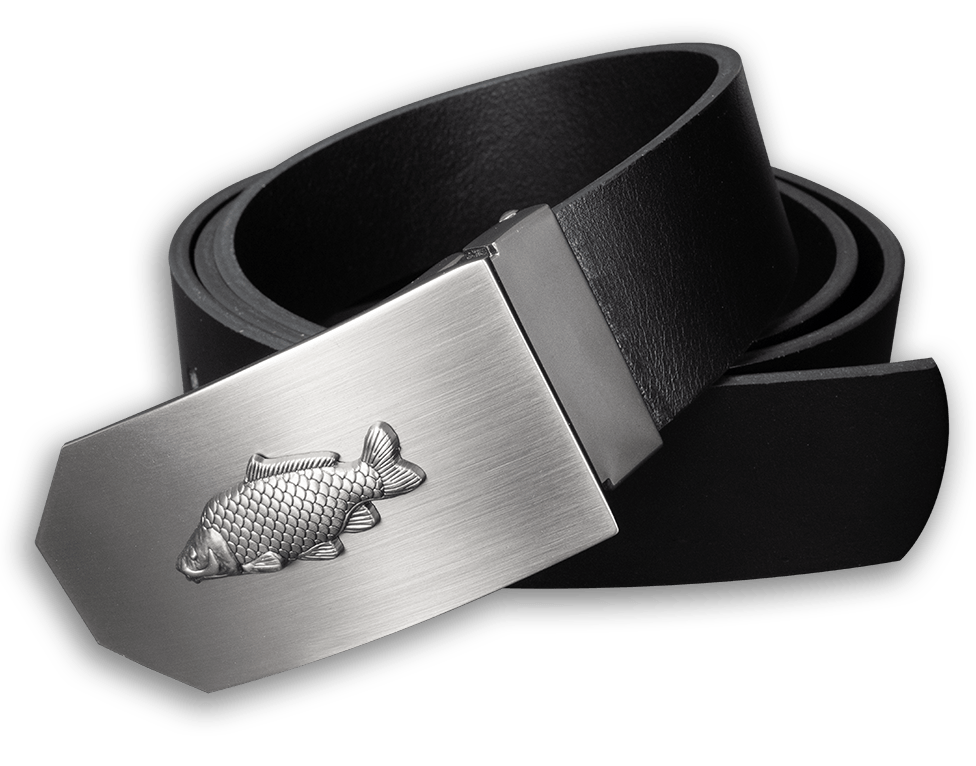 Kožený opasok 40 mm s kovovou prackou kapor - čierny - dĺžka 130 cm (122,5 cm - 137,5 cm)
